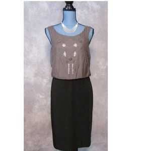 NWT Suzi Chin Gray Black Beaded Dress Size 8